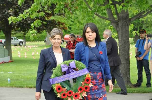 On Sunday morning, a small group gathered to pay respects at the Field of Honour of Mount-Royal cemetery