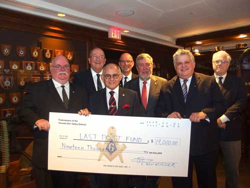Thanks to the Toronto Don Valley District Freemasons for their donation of $19,000 to the Last Post Fund