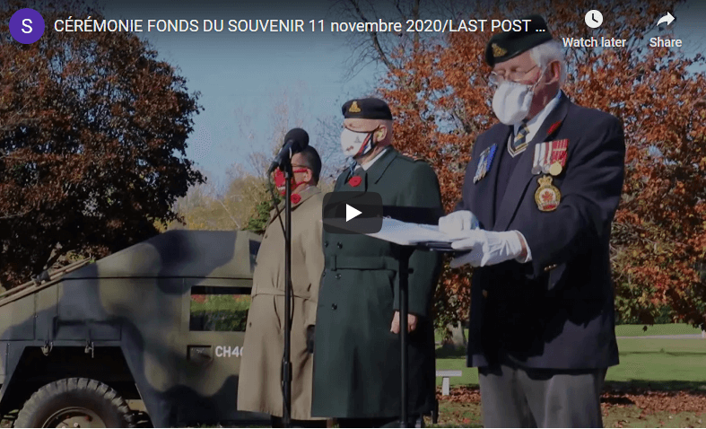 Commemorative Ceremony at the National Field of Honour, Remembrance Day November 11th, 2020